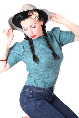 Sugarshock 30er Retrò Vintage Rockabilly Lavorazione a Maglia Pullover Collo alla coreana shirt Pinup