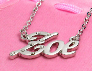 9feb0f33b360b Details about Name Necklace ZOE - 18ct White Gold Plated - Christmas  Personalised Anniversary