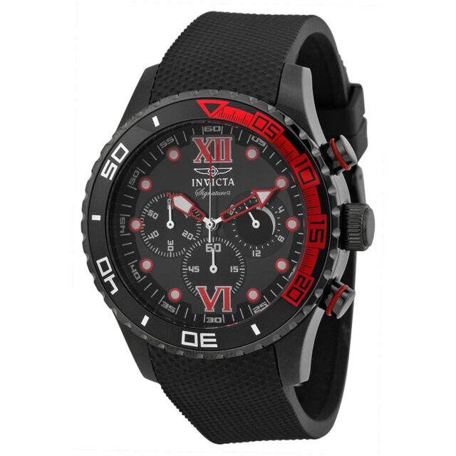 Invicta Signature II Chronograh Black Dial Black  Polyurethane Mens Watch 7507
