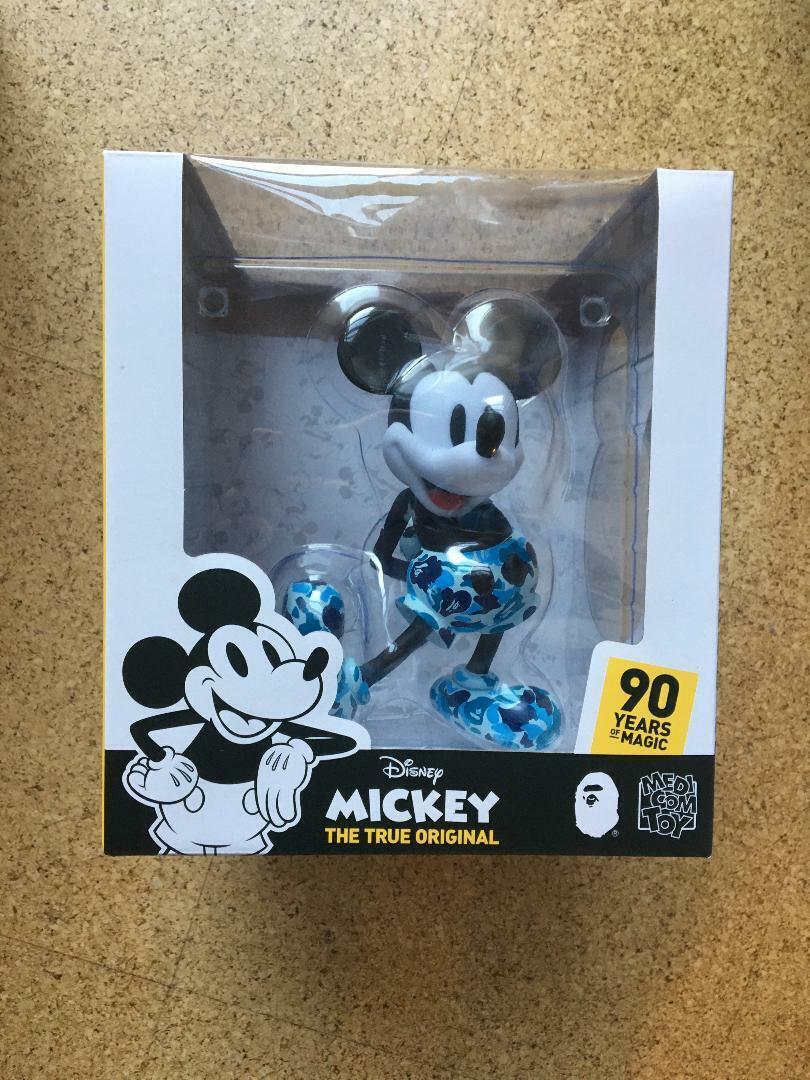 Bathing Ape Mickey 90th X BAPE VCD Figura Azul Camo Medicom Juguete Japón Nuevo