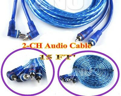 15FT 2CH Subwoofer Sub CAR AMP RCA Car AMP AMPLIFIER Wire CABLES INTERCONNECT