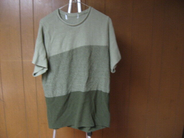Men's L Large Multi Green Knit Texture Short Sleeve Thick