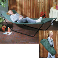 portable canvas hammock & FRAME stand travel carry bag outdoor patio camping bed