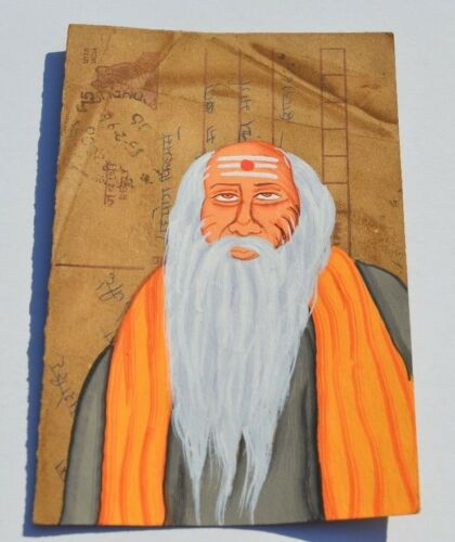 A LOVELY OLD RAJASTHAN MINIATURE PAINTED INDIAN POSTCARD OF A WISE MAN   N0 65