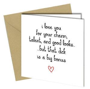 Funny Birthday Anniversary card for Boyfriend Fiance Rude Humour Joke