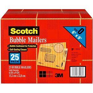 scotch 3m bubble mailers size 0 6 x 9 25ct ebay