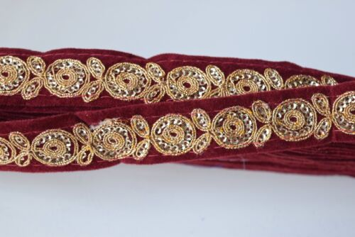 ATTRACTIVE INDIAN PAISLEY EMBROIDERY LACE TRIM VELVET SLIM SOLD by MTR MAROON