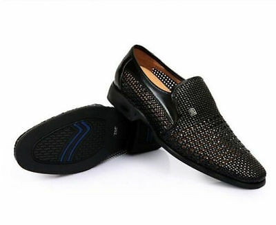 Mens dress formal hollow flat woven leather close toe casual pump shoes 3 colors