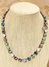 Cup Chain Necklace PACIFIC OPAL RAINBOW Necklace made w/ Swarovski Crystals NICE