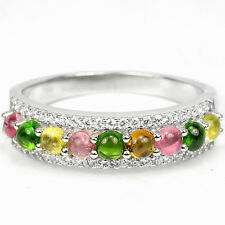 Sterling silver 925 Genuine Tourmaline & Chrome Diopside Ring Size R.5  (US 9)