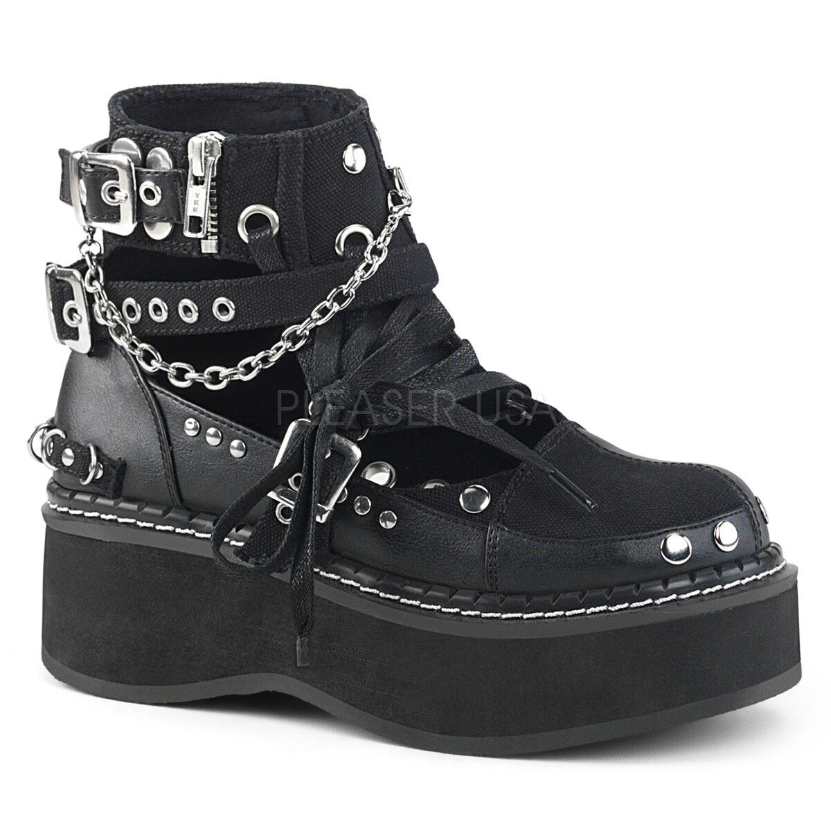 EMILY-317 2  COMBAT BIKER STRAP CHAIN STUDDED LACE UP WEDGE PLATFORM ANKLE BOOT