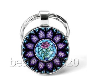 Rose Flower Photo Cabochon Glass Tibet Silver Keychain Keyring#DU4