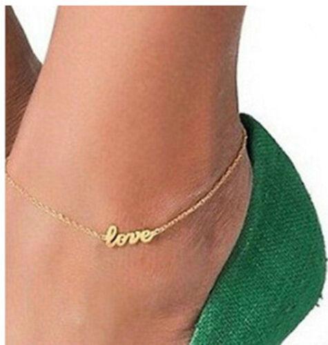 Bracelet de Cheville LOVE Doré ou Argenté Bijoux pied gourmette Amour Couple