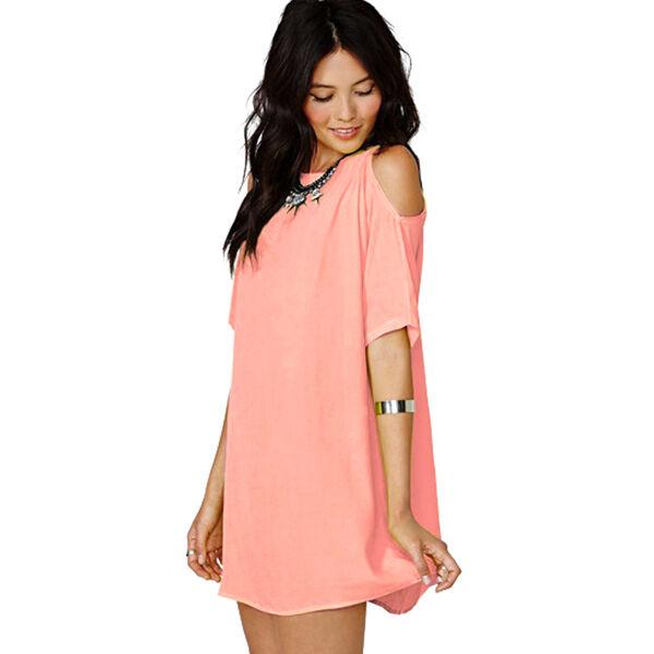 Casual Women Off Shoulder Chiffon Long Tops Baggy T Shirt Loose Blouse Dress