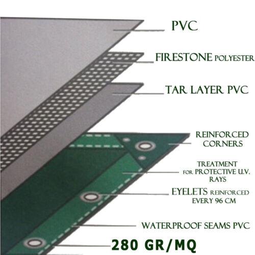 Telo Occhiellato Pesante PVC 280 gr//mq dimensioni metri 4x6 Modello C