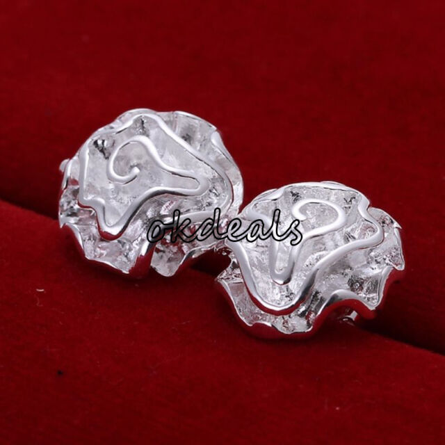 New Women Jewelry 925 Sterling Silver Plated Floral Rose Stud Earrings