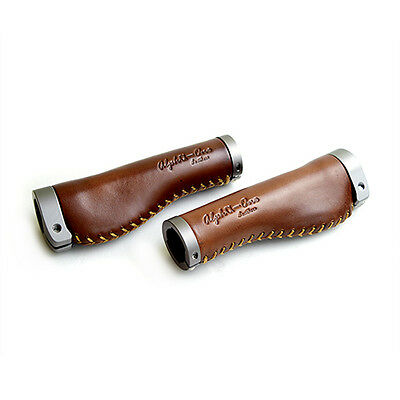 ALPHA-ONE OG-001 Artificial Leather bike Grip (pair) - Brown