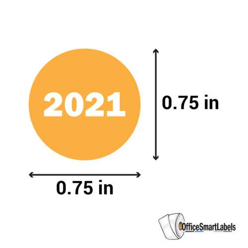 """2021 Year Plan Date Made Sticker Labels Calendar Scheduler Office 0.75/"""" Mustard"""
