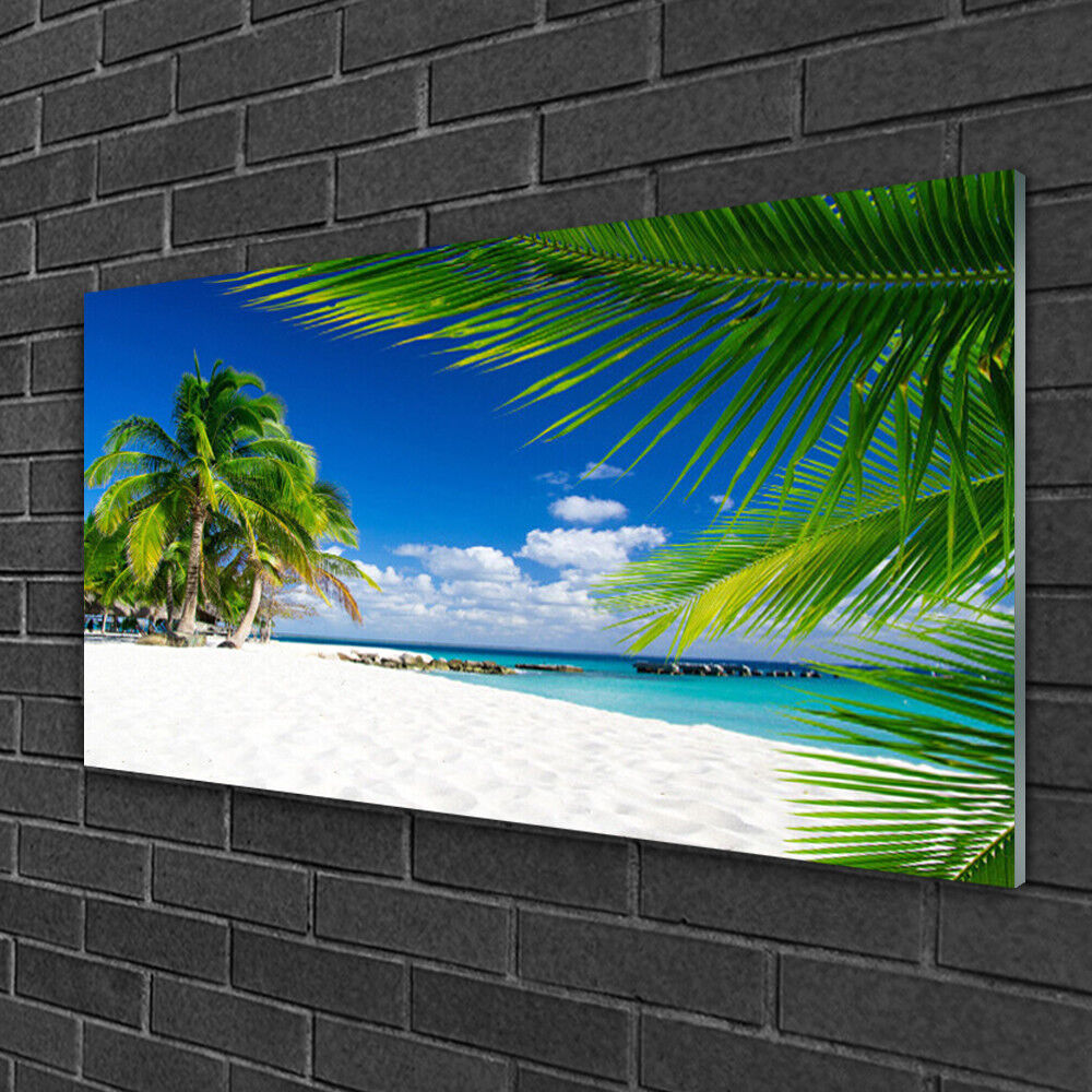 Tableau sur verre Image Impression 100x50 Paysage Palmiers Plage