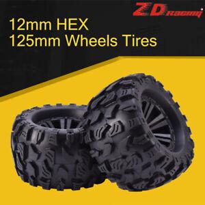 2pcs-ZD-Racing-12mm-HEX-amp-125mm-Wheels-Tires-For-1-10-Monster-Truck-HPI-HSP-Flux