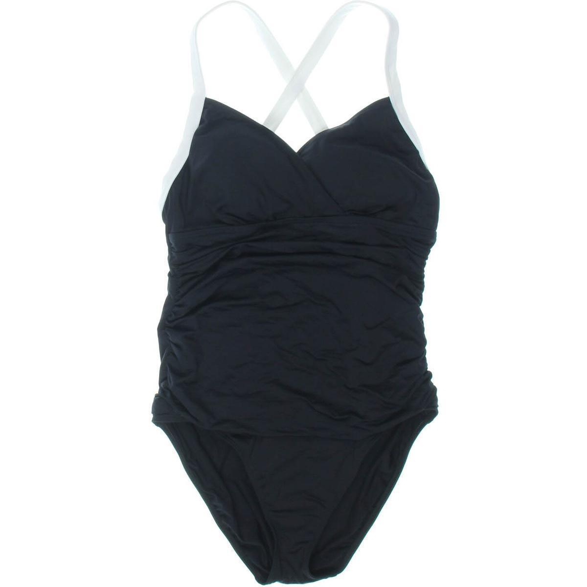 Lauren Ralph Lauren 5472 Womens B W Stretch Ruched One-Piece Swimsuit 12 1058