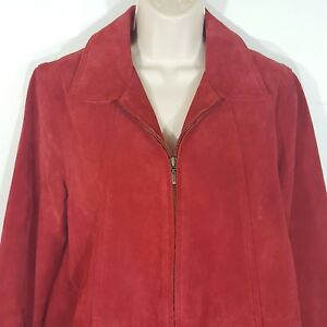 Coldwater-Creek-Womens-Suede-Leather-Jacket-Medium-Bright-Red-Full-Zip-Up-Lined