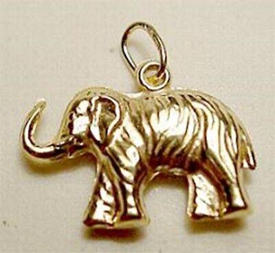 14k Yellow Gold 3D Elephant Polished Charm Pendant 15mmx13mm