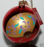 Pier 1 Imports 3 Red Round Glass Ball Christmas Ornament W/ Painted Detail
