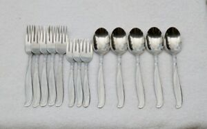 Vintage-Wallace-MODERNAIRE-Stainless-Flatware-Forks-amp-Spoons-13-Pieces