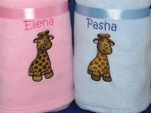Personalised baby blanket giraffe new baby gift christening image is loading personalised baby blanket giraffe new baby gift christening negle Choice Image