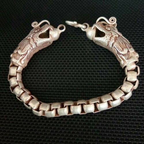 China  Old Tibet Silver Carve Pair dragon head  Bracelet