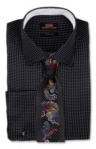 Dress Shirt Only Steven Land Trim/&Classic Fit Square French Cuff-Black-TA759-BK