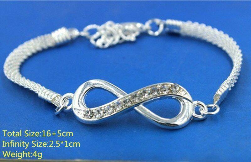 Versilberte Unendlichkeit Unendlichkeitszeichen Frauen Männer Armband Armkette 2