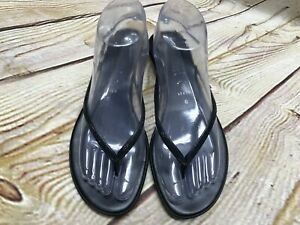 6fbf21dc11e2 Image is loading Italian-Shoe-Makers-Black-Leather-Sparkly-Wedge-Sandals-
