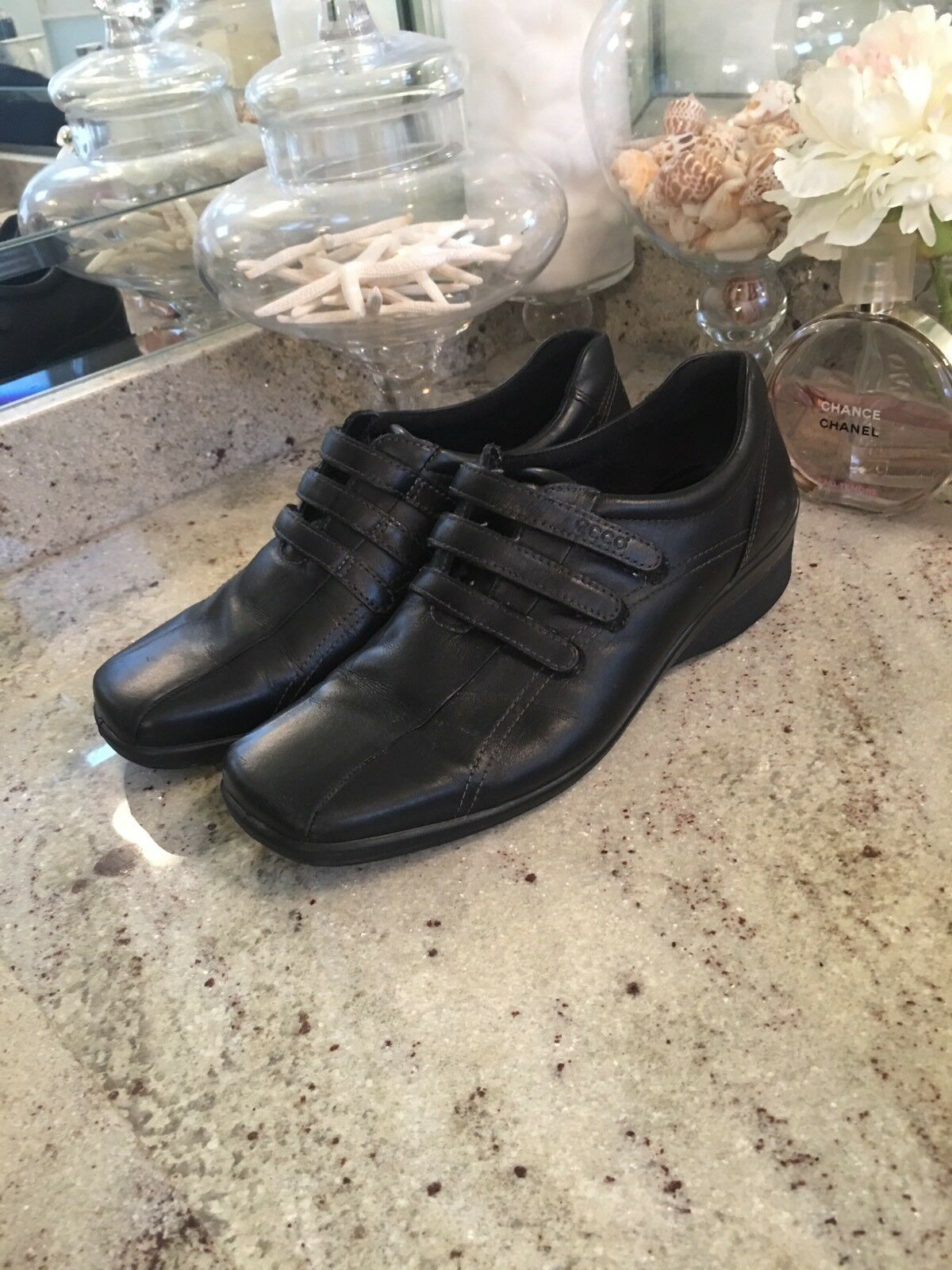 ECCO BLack Strappy Sneaker LEATHER WEDGE HEEL LOAFER SHOE WOMENS 40 US 9 - 9.5