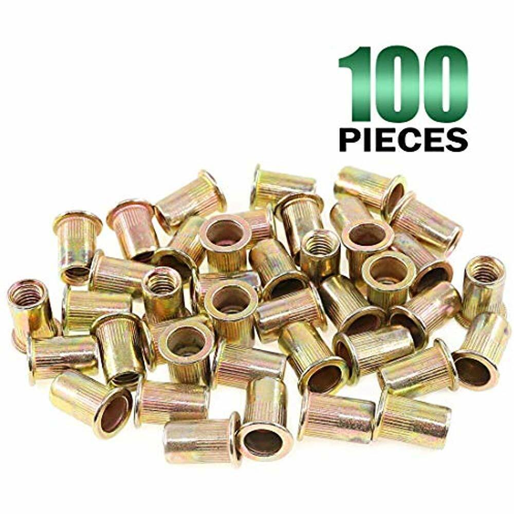 40Pcs Rivet Nut Zinc Plated Carbon Steel M10 Flat Head Standard Metric Threaded Insert Rivetnut