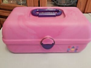 VINTAGE-CABOODLE-Pink-Makeup-Craft-Organizer-Storage-Box-with-Mirror-EUC