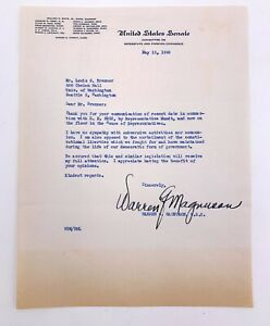 Warren-Magnuson-WA-US-Senator-Signed-Letter-1948-Communism-McCarthyism-HR-5852