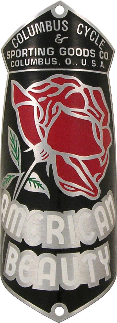 American Beauty Bicycle Badge  Emblem 1940s - 1950s ACID ETCHED Aluminum  best price