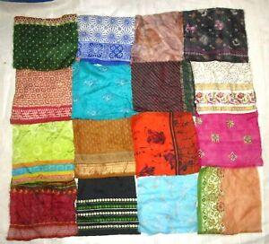 LOT-PURE-SILK-Vintage-Sari-Fabrics-REMNANT-16-pcs-8-034-SQUARES-Mixed-Colors-CRAFT