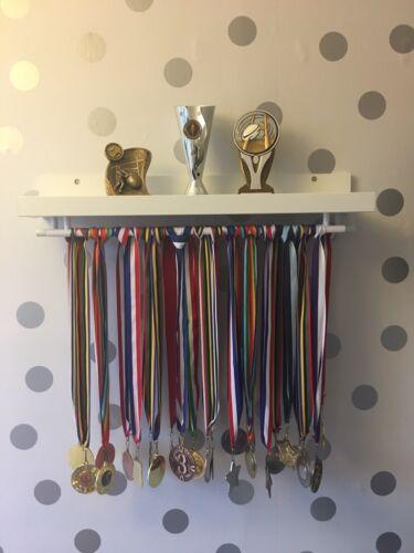 55cm WHITE DOUBLE Medal Hanger /& Trophy Shelf Running Football Cricket Swimming