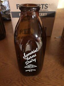 Vintage Somerset Farms Dairy Milk Bottle Brown Glass 1 Qt Middlebush NJ