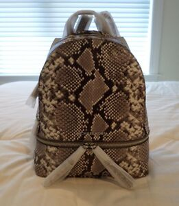 7683d2a3e31d NWT Michael Kors Small RHEA Python-Embossed Leather Backpack Natural ...