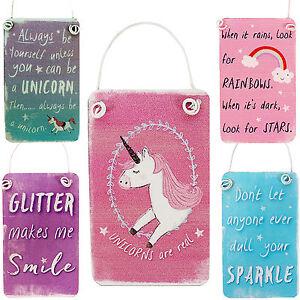 Mini-Metal-Unicornio-Colgante-Letreros-Arcoiris-Destellos-Con-Purpurina-Rosa