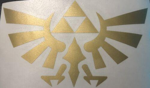 """Zelda Triforce Crest Vinyl Decal Sticker 5"""" Gold"""