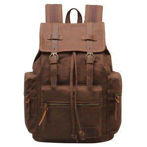 62e4a396a Image is loading Vintage-Canvas-Leather-Backpack-Mens -Military-Hiking-Travel-