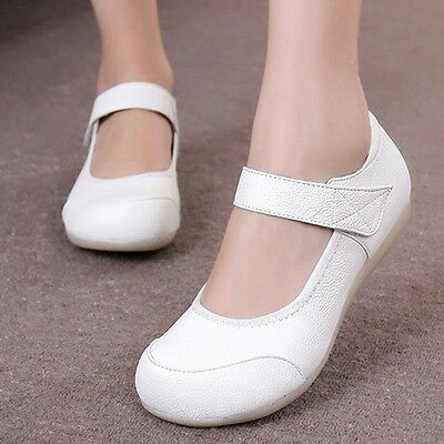 Women's Leather Soft Sole Nurse Shoes Flats Medical Hospital Work Shoes Footware
