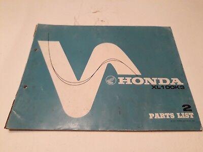 Honda XL100 K3 parts list manual vintage motorcycle oem ...