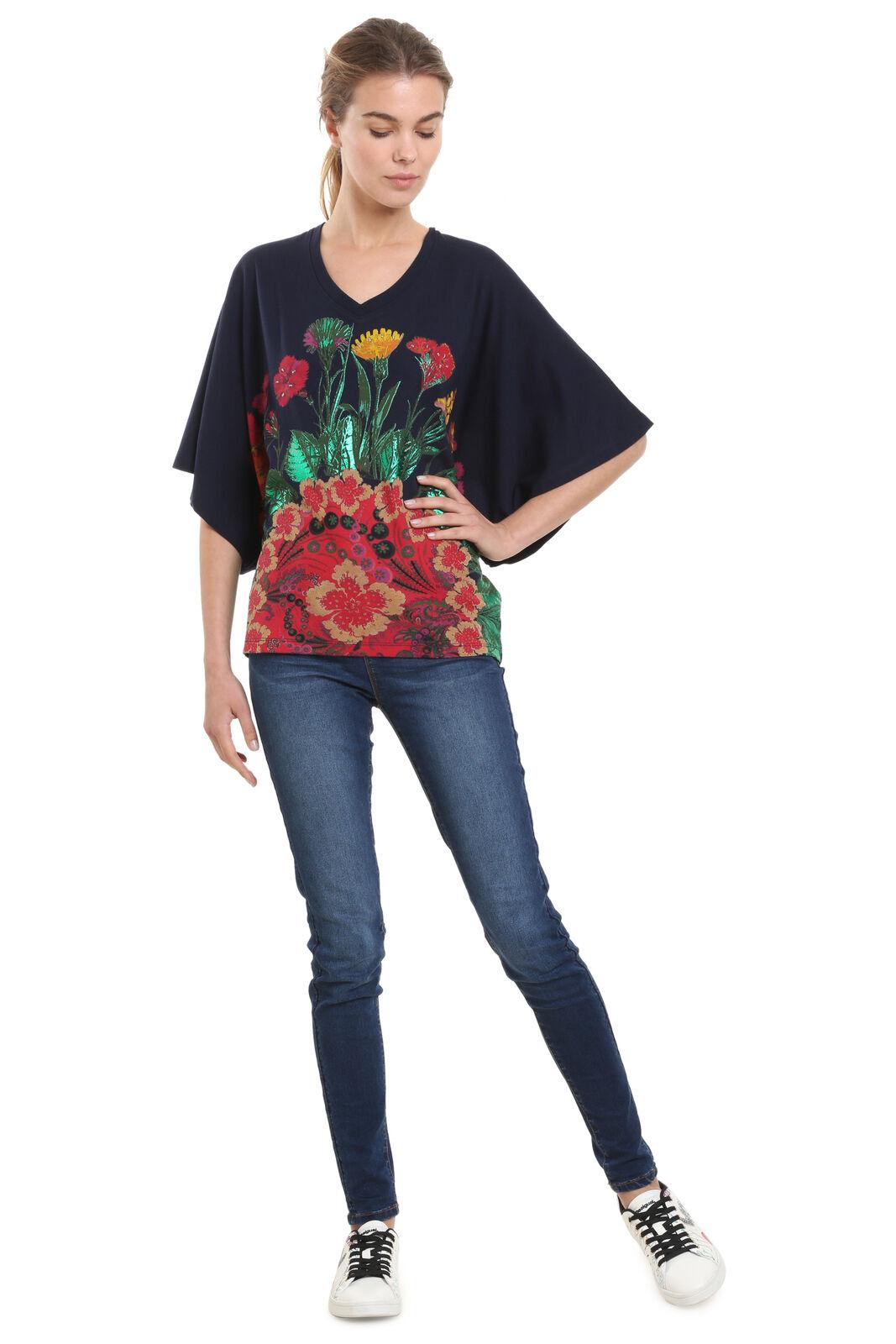 Desigual Freeman Blau  Floral Batwing Tshirt Top XS-XXL RRP