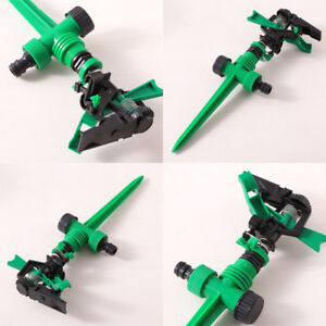 Metal-Spike-Lawn-Grass-Hose-adjustable-rotating-Water-Nozzle-Sprinkler-Fitting